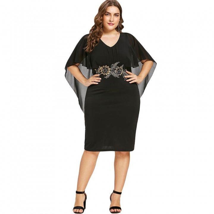 COCOCICI ladies fashion casual wear large size embroidery ladies long section slim dress xl black