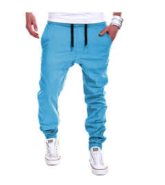 2019 hot sale spring and summer new men's tether elastic casual sports fashion pants open slim pants light blue m