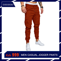 COCOCICI Fastion Men Trouser Side Pockets Elastic Cuffed Jogger Pants multiple pockets casual pants coffee 3XL