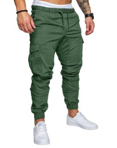 COCOCICI Fastion Men Trouser Side Pockets Elastic Cuffed Jogger Pants multiple pockets casual pants armygreen L