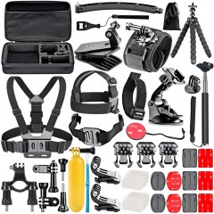 Accessories Kit for GoPro 6 Hero 5 Session 4 Silve BLACK