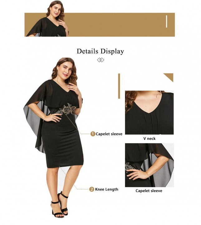 Plus Size Embroidery Capelet Dress