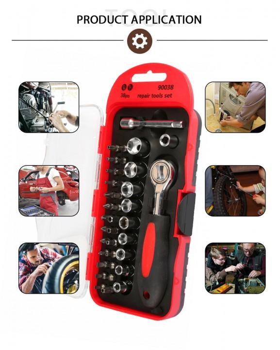38pcs Multi-functional Ratchet Wrench Socket Bits Motorcycle Emergency Repair Tool