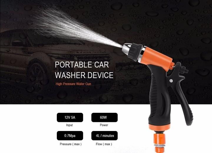 12V 60W High Pressure Cleaning Pump Car Washing Machine Cigarette Lighter Vehicular Wash Device