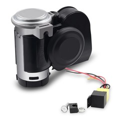 Motorcycle Electric Air Horn 125dB PowerfulSound Suitable for All 12V Vehicles BLACK