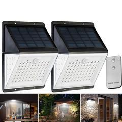 88 LED Solar Power Motion Sensor Light Voice Remote Control Outdoor Yard Wall Lamp BLACK