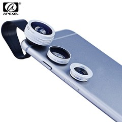 APEXEL APL - FCFWM 3 In1 Clip-On 0.67X Wide-angle 180 Degree Full Screen Fisheye 10X Micro Lens for iPhone Samsung Xiaomi ZTE Notebook PC SILVER
