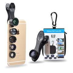 APEXEL Universal 5 in 1 HD Phone Lens Kit Wide Angle Macro Fisheye Telephoto Mobile Camera Lens for iPhone Smartphone BLACK