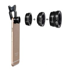 Three-In-One Phone Lens Fisheye/Wide/Telephoto Lens BLACK