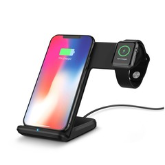 2 in 1 Fast Charging Wireless Charger Stations for Apple Watch / iPhone X / 8 Plus BLACK