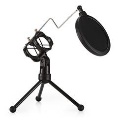 PS - 3 Desktop Microphone Holder Bracket with Double Pop Filter Stand BLACK