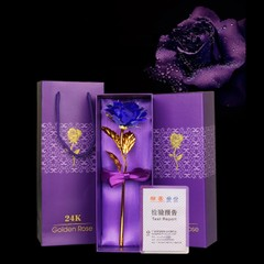 Day Gift 24K Gold Foil Artificial Rose Flower Valentine's Day Birthday Giftblue BLUE