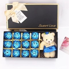 12 gradient Rose Scented with Little Bear Doll in Gift Box for Valentine is Day LIGHT BLUE