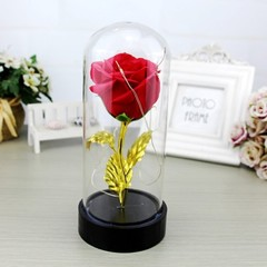 Rose Eternal Flower Micro Landscape Decoration with Lights Valentine'S Day RED 20*9CM