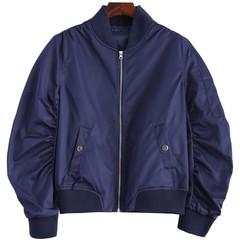 Zippered Bomber Jacket DEEP BLUE S