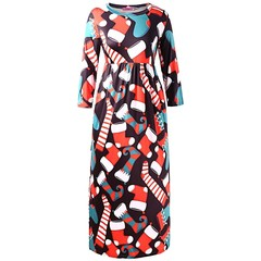 Plus Size Christmas Socks Print A Line Maxi Dress BLACK L