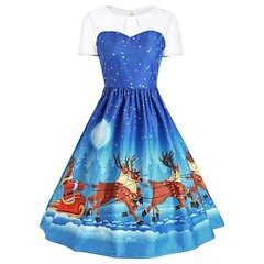 Mesh Panel Christmas Santa Claus Sleigh Party Dres BLUE 2XL
