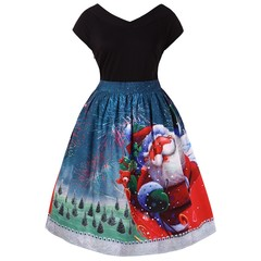 Plus Size Christmas V Neck Dress MULTI 4X
