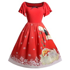 Christmas Plus Size Santa Claus Printed Dress RED L