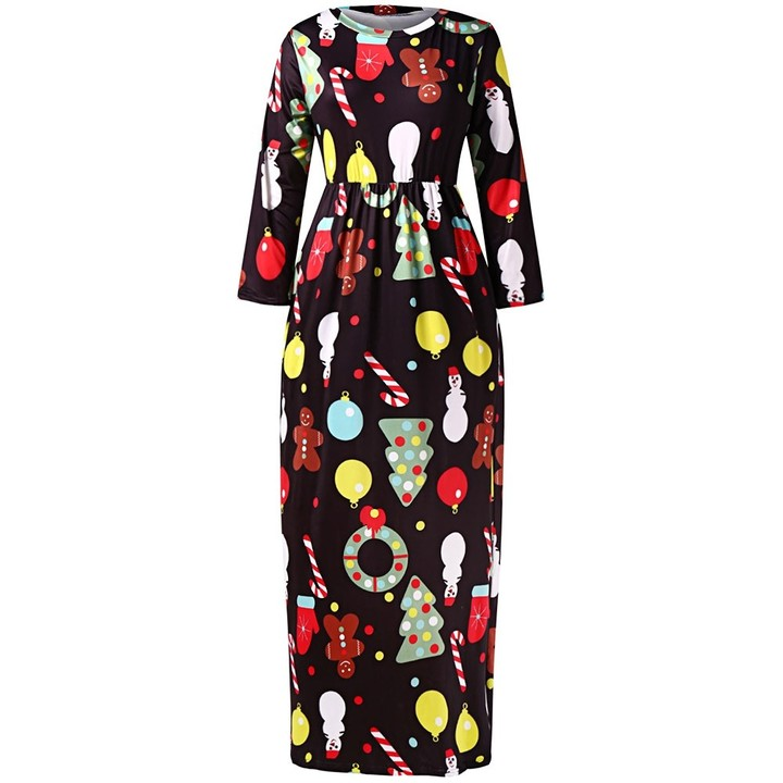5e5d01f4a918 Christmas Plus Size Printed Maxi Dress BLACK L @ Kilimall Kenya