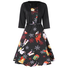 Christmas Print Midi Flared Dress BLACK M
