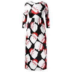 Plus Size Santa Claus Print Christmas Maxi Dress BLACK 1X