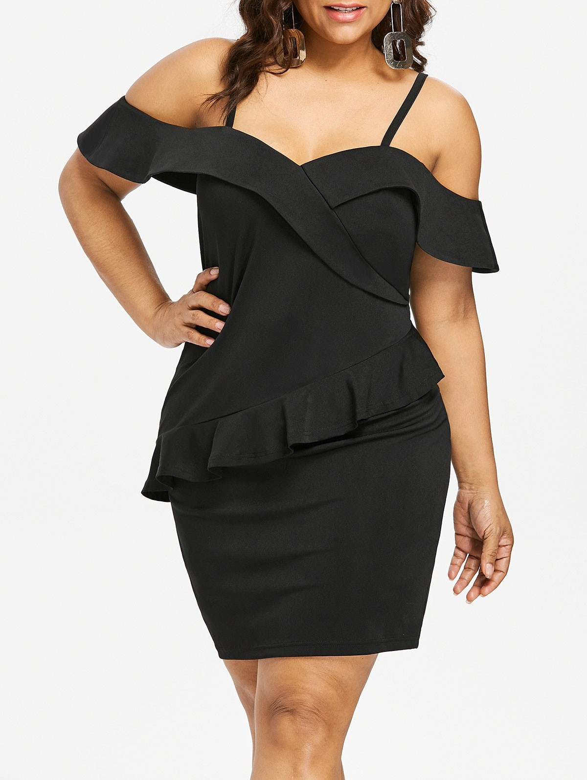 45cdc404323 Plus Size Foldover Cold Shoulder Dress BLACK 4X  Product No  7199415. Item  specifics  Seller SKU C6PENM4OF  Brand