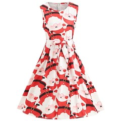 Sleeveless Christmas Print Vintage Dress RED L