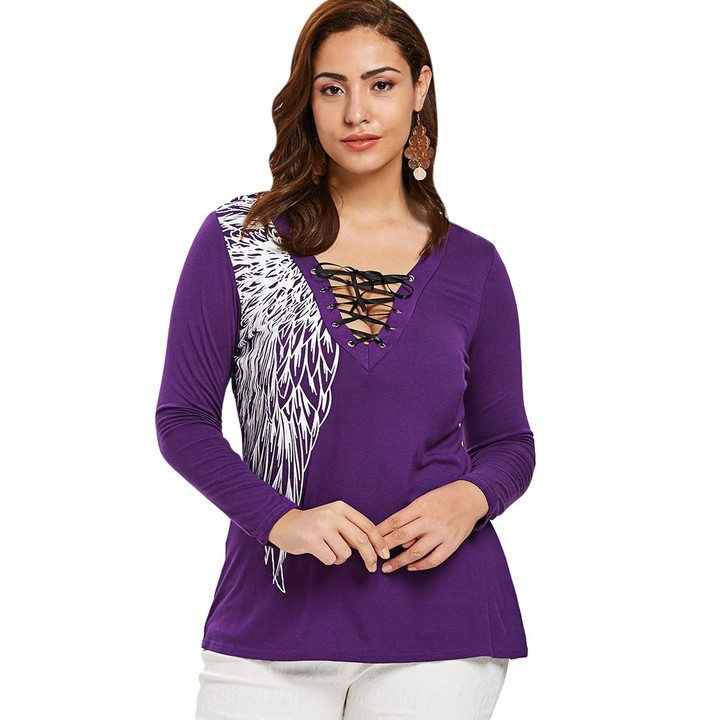 871c0f2421e Plus Size Lace Up Printed T-shirt PURPLE 3X   Kilimall Kenya
