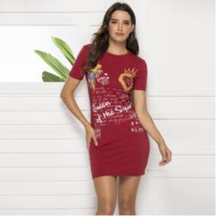 Slim cover hip simple fashion print dress xl red