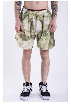 High street floral print elastic band men's shorts green m