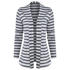 Striped Color Block Long Sleeve Cardigan GRAY M