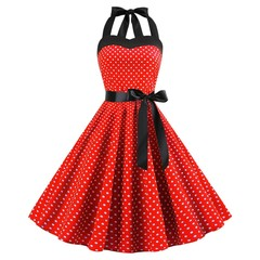 Lace Up Polka Dot Flare Dress RED M