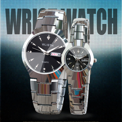 Watch men's suit couple watches luminous waterproof steel belt watch ladies explosion models black shell&silver steel strip men
