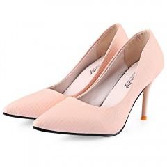 Bestselling women Fashion elegant fine heel shoe pointed toe Snakeskin ladies high heels Office shoe PINK 35