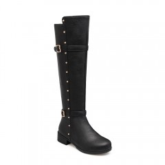 Women's Flat Top Rivet Boots  BLACK 40