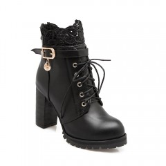 Back Zipper with Lace and Heel Boots BLACK 41