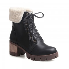 Autumn and Winter Color Thick Soled Boots  BLACK 39