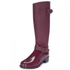Trendy Round Toe Chunky Heel Zipper Waterproof Rai WINE RED 39