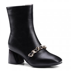 Metal Decorative Square Lady Boots BLACK 44