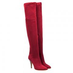 Women's Above Knee Boots Solid Color Thin Heel Bri BURGUNDY 39