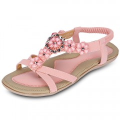 SIKETU Bohemia Beads Open Toe Elastic Band Women F PINK 37