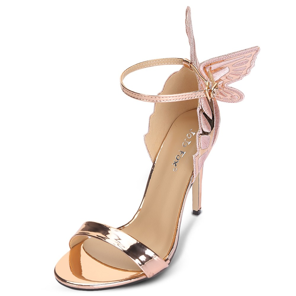 afa76a286120d3 Trendy Open Toe Ankle Strap Butterfly Stiletto Hee BLACK 36 ...