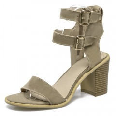 Simple Buckle Strap and Suede Design Sandals For W KHAKI 37