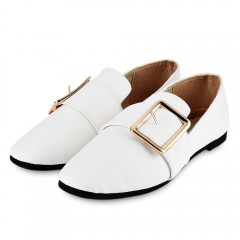 Casual Square Buckle Embellishment Flat Shoes for  WHITE 37