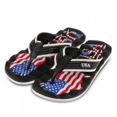 Casual America Flag Color Block Flip-flop Slippers BLACK 43
