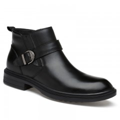 Four seasons real leather business and leisure men BLACK 44