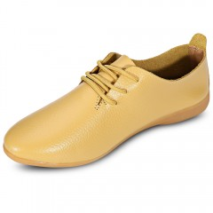 Trendy Pointed Toe Lace-up Genuine Leather Women F YELLOW 36