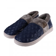 Casual Patchwork Design Slip On Warm Cotton-padded DEEP BLUE 42