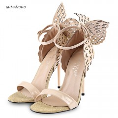 GUMANDUO Shoes Sexy Butterfly Wings Embellishment Ankle High heels Like the queen PURPLE 35